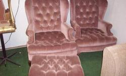 $100 2 Velour Chairs with Matching Ottoman