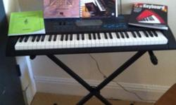 $100 OBO Almost New Keyboard, stand, plus beginners books