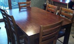 $100 OBO Solid Wood Bar Table w/ 6 chairs & leaf