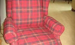 $100 Wingback Recliner, red plaid beauty!