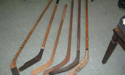 $10 Vintage Wooden Hockey Sticks 1920's to 1970's