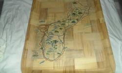 $10 wooden plater with picture of guam