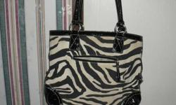 $10 Zebra print purse with peace sign (Purcell)