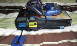 $110 PlayStation 2 with Superman Skin, 2 Controllers, and 2