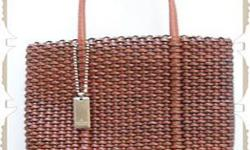 $11 NINE WEST Faux Leather Woven Satchel Purse Handbag -