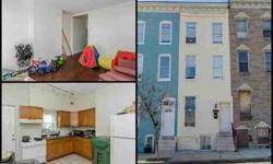 122 Mount St N Baltimore, Four BR, One BA row home fully