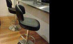 $125 2 MODERN BAR STOOLS Black and Chrome, Paid over $400