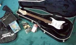 $125 Mint Black n White Electric Guitar Set With Accessories