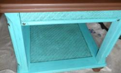 $125 OBO Dark Brown and Aqua Refinished End Table