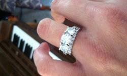 $12,000 Custom 18kt White Gold Engagement/Wedding Bands Set