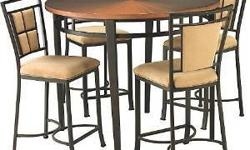 $150 5pc round copper top table and 4 chairs