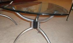 $150 Coffee Table & End Table Set - Glass & Silver