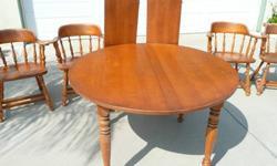$150 Dining Table and 4 Captains Chairs-Solid Wood