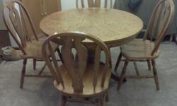 $150 Oak Dining Table Set / four chairs