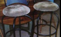 $150 Set of Two (2) Black Metal Bar Chairs with Soft Green