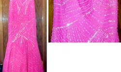 $150 Tiffanys Designer Mermaid style prom gown- Hot Pink w/