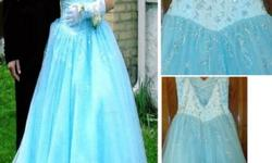 $150 Tiffanys Designer Prom Gown- Sky Blue w/ sequins