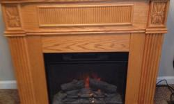 $150 Twin Start Oak Blonde Electric Fireplace