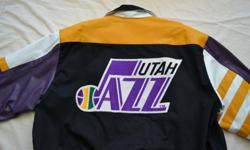 $150 Utah Jazz Jacket, Men's (L) Leather & Cotton, Vintage,