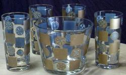 $15 Gold & Blue 5 Piece Drinking Glass / Ice Bucket Set