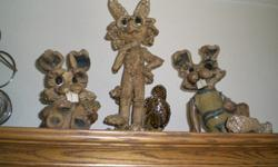 $175 OBO Three decor sculptures, 2 rabbits & Coyote