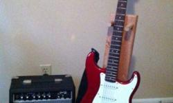$175 Squire Electric Guitar with Fender Amp and stand