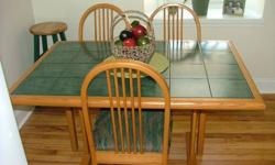 $185 Dining Or Kitchen Table - Green Tile Top With Chairs &