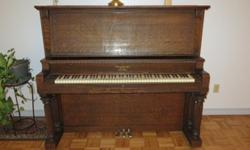 "1912 Armstrong upright Piano ""Cabinet Grand"" & glass"
