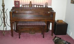 1942 Grinnell Bros. Detroit Console Piano Baby Grand Harp in