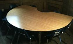 $199 Kidney- Shaped Table great for schools, home