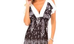 $19.99 V Neck Floral Print Black and White Mini- New w/ tags