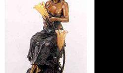$1,050 Sitting Pretty Bronze Sculpture Lamp - a. Moreau