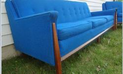 $1,129 Mid Cenutry Modern Blue Sofa and Lounge Chair