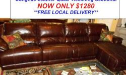 $1,280 Cognac Leather Quad Reclining Sectional & Chaise
