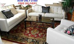 $1,480 Brand New Three Piece Pearl Leather Sofa Set