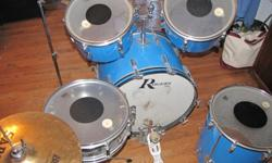 $1,500 Pacific Blue Vintage Rogers Powertone Drumset with