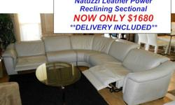 $1,680 Natuzzi Touch Power Reclining Leather Sectional