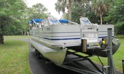 §2000 Sylvan 22' SmokerCraft Pontoon Boat with Trailer§