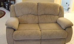 $200 Microfiber Reclining Sofa and Loveseat