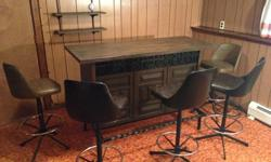 $200 OBO 70's Dark Wood Bar with Five Bar Stools