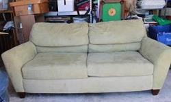 $200 Slightly Used Pear Green Microsuede Couch Classic