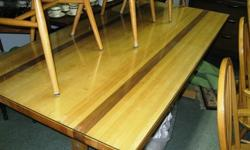 $200 Table w/7 Captain Chairs ~ Butcher Block w/Glass Top