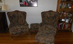 $200 Two Queen Anne Chairs with ottomans