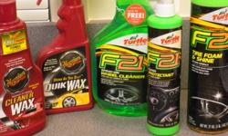 $20 Assorted car waxes, tire shine and cleaners