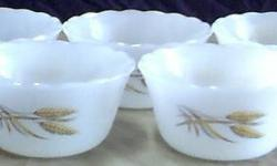 $20 Five Fire King #424 Golden Wheat Pattern 6 OZ Milk Glass