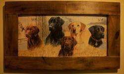 $20 Hunting Dogs in Rustic Wood Frame