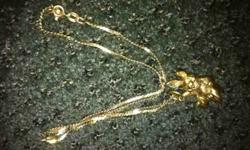 "$225 Solid gold ""very Lucky"" 14k rabbit on 14k chain"
