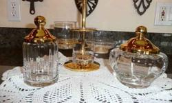 $22 5 Piece Glass Vanity Set with Gold Toned Lids & Holder