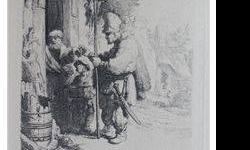 $230 Rembrandt THE RAT POISON PEDDLER Etching