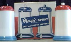 $23 Magic-Spray Plastic Salt & Pepper Servers